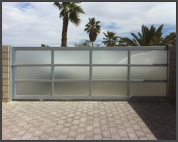 Aluminum frame with frosted glass slide gate