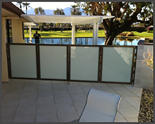 Patio gates with white laminate glass