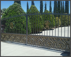 Gold and silver double swing gate