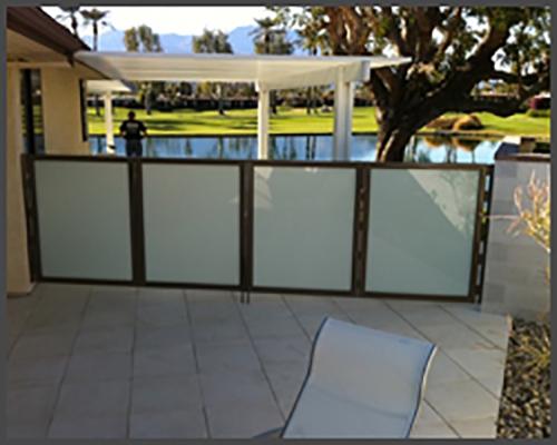 Patio gates with white laminate glass